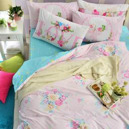 英國Abelia 單人純棉被套床包組-粉漾花語