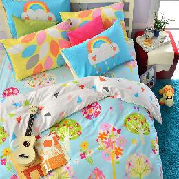英國Abelia 雙人純棉被套床包組-繽紛花園