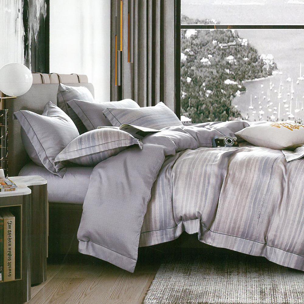英國Abelia《都會光影》特大天絲木漿防蹣抗菌吸濕排汗兩用被床包組