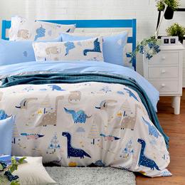 英國Abelia《淘氣恐龍》單人純棉三件式被套床包組