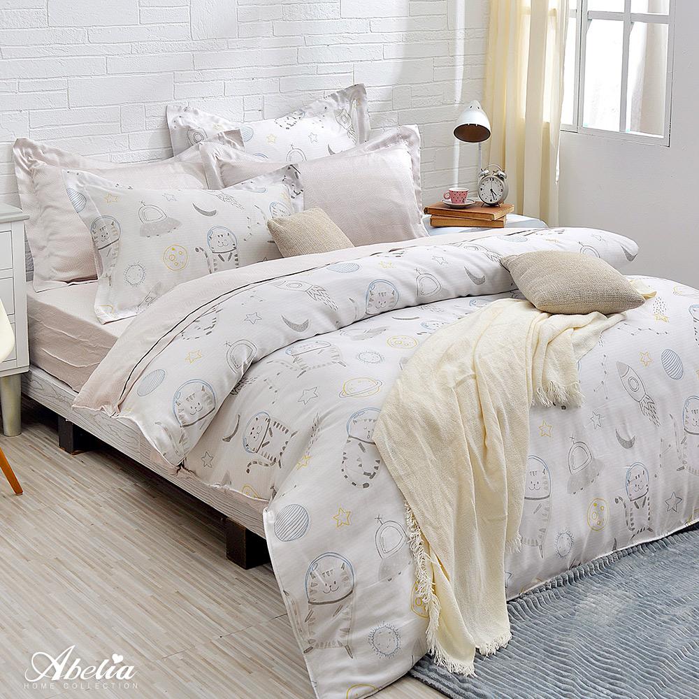 英國Abelia《宇宙太空貓》特大天絲木漿四件式兩用被床包組