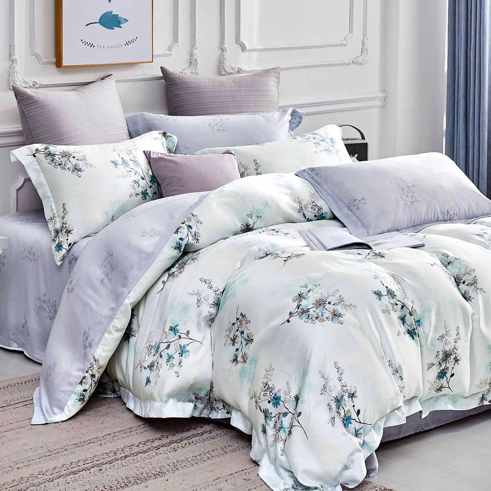 英國Abelia《醉花影》特大天絲木漿防蹣抗菌吸濕排汗兩用被床包組
