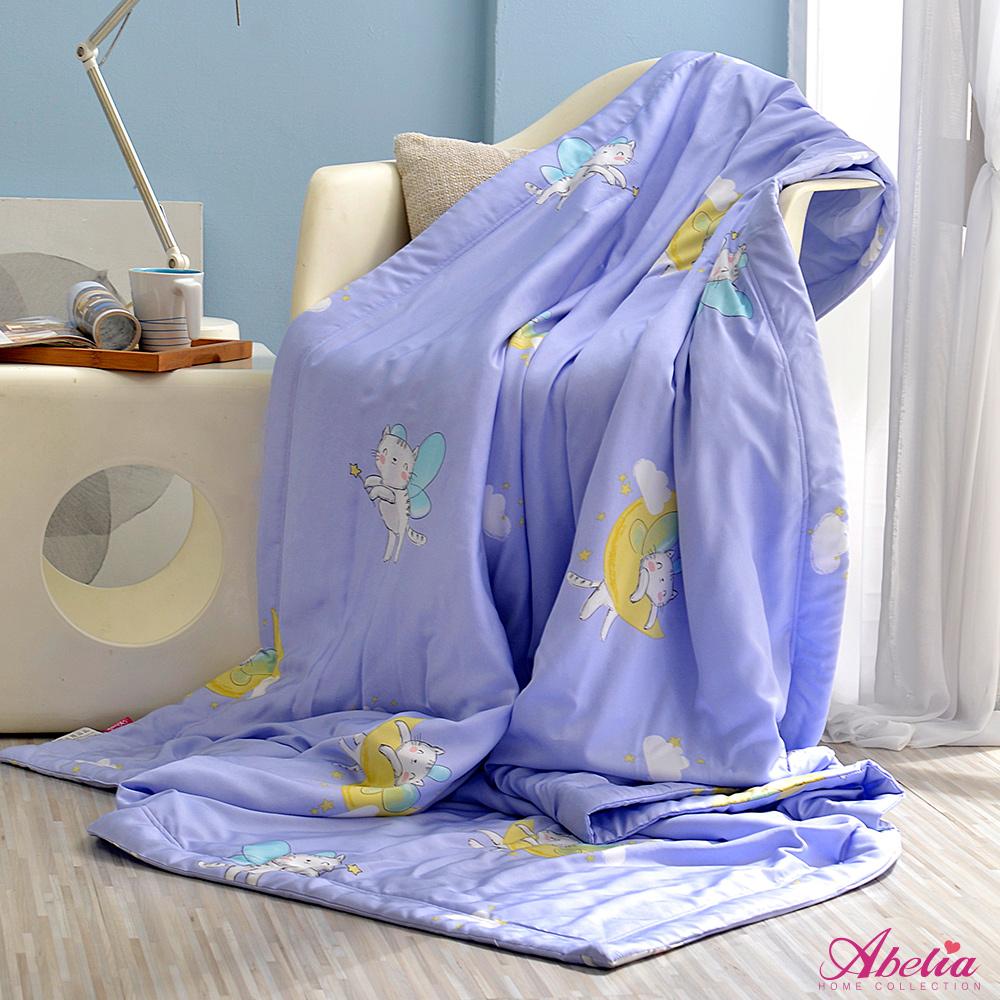 [送:可水洗舒眠枕] 英國Abelia《月光天使貓》莫黛爾天絲涼感抗菌涼被(5x6尺)