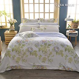 法國CASA BELLE《伊蕾娜》特大天絲刺繡四件式防蹣抗菌吸濕排汗兩用被床包組