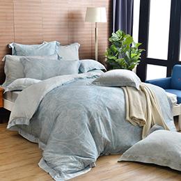 法國CASA BELLE《聖德魯》加大天絲刺繡四件式防蹣抗菌吸濕排汗兩用被床包組