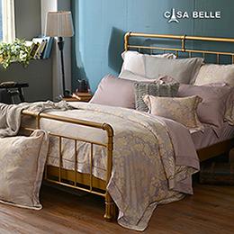 法國CASA BELLE《羅浮納》特大天絲刺繡防蹣抗菌吸濕排汗兩用被床包組