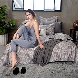 法國CASA BELLE《梵帝亞》特大天絲刺繡防蹣抗菌吸濕排汗兩用被床包組