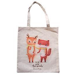 義大利Fancy Belle X furryfurry 麻織購物袋-一起圍圍巾