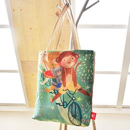 義大利Fancy Belle X DreamfulCat 麻織購物袋-猴猴出發吧