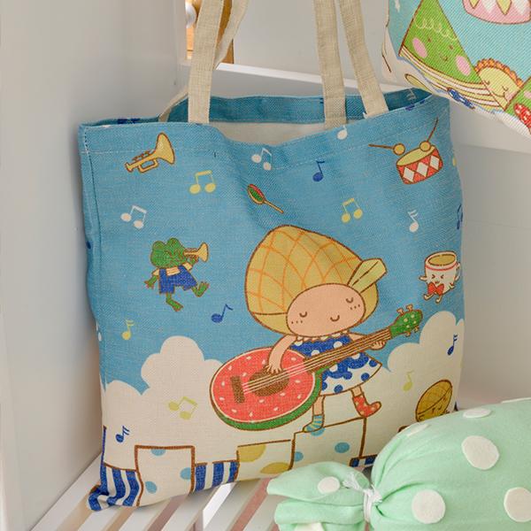義大利Fancy BelleXCafe de Bollo《藍天音樂會》麻織購物袋