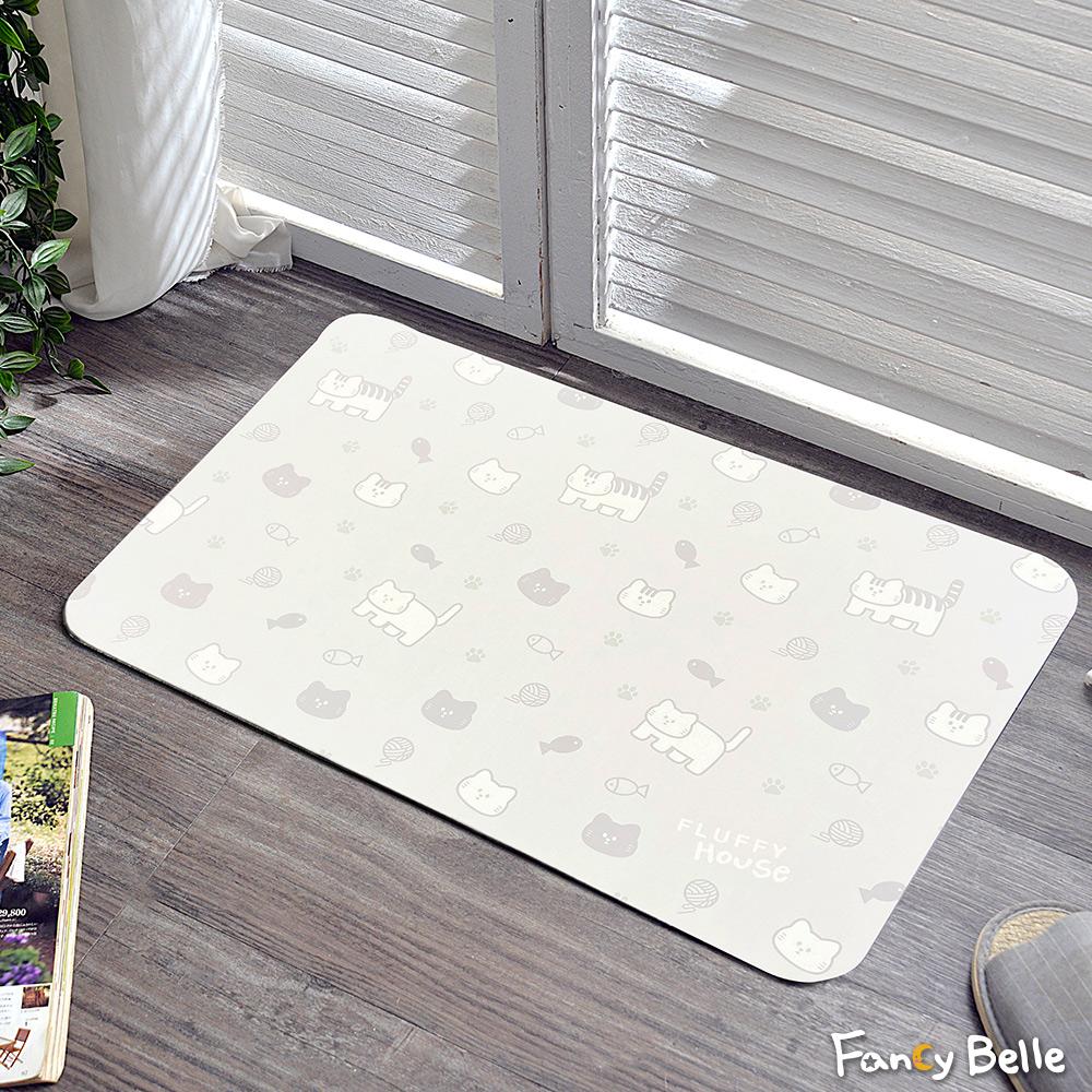 義大利Fancy Belle X FLUFFY HOUSE《我家貓 - 簡約文青印花》防霉抗菌可水洗軟式珪藻土強效吸水地墊 60*39CM