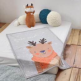 義大利Fancy Belle《快樂麋鹿》雙層雪芙絨兒童毯100*140CM