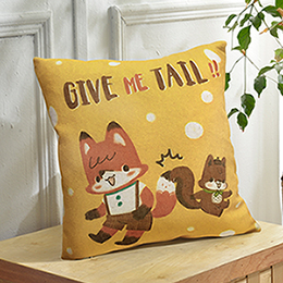 義大利Fancy Belle X LaLa Woodland《Give Me Tail 》麻織靠墊 45*45CM
