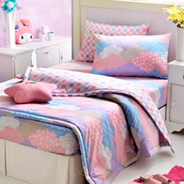 義大利Fancy Belle《朵朵雲彩》雙人純棉床包枕套組