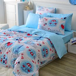 義大利Fancy Belle 加大純棉舖棉兩用被床包組-情定巴黎