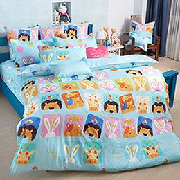 義大利Fancy Belle 雙人純棉防蹣抗菌舖棉兩用被床包組-繽紛動物園