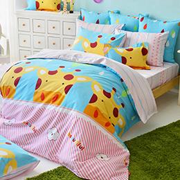 義大利Fancy Belle 雙人純棉防蹣抗菌舖棉兩用被床包組-晴天小鹿