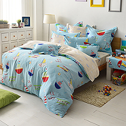 義大利Fancy Belle 雙人純棉防蹣抗菌舖棉兩用被床包組-海洋夢想