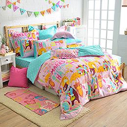 義大利Fancy Belle 加大純棉防蹣抗菌舖棉兩用被床包組-開心樂園