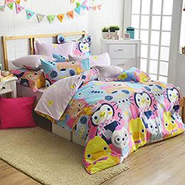 義大利Fancy Belle 雙人純棉防蹣抗菌舖棉兩用被床包組-童話王國