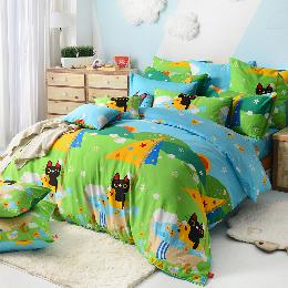 義大利Fancy Belle X Malis 加大純棉防蹣抗菌舖棉兩用被床包組-大自然的淋浴