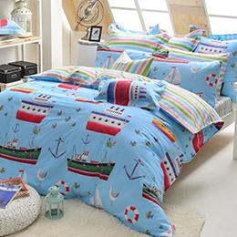 義大利Fancy Belle 雙人純棉防蹣抗菌舖棉兩用被床包組-海洋探險