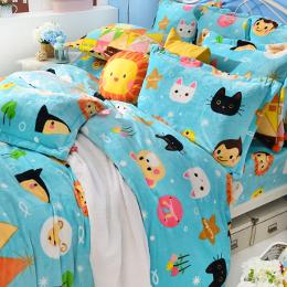 義大利Fancy Belle X Malis 加大防蹣抗菌雪芙絨被套床包組-我們幸福的家