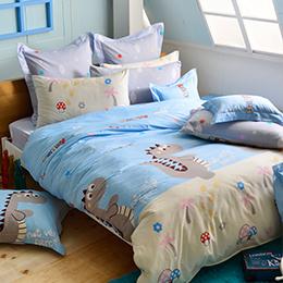 義大利Fancy Belle 加大純棉防蹣抗菌吸濕排汗兩用被床包組-歡樂跳跳龍