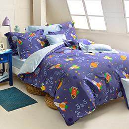 義大利Fancy Belle 雙人純棉防蹣抗菌吸濕排汗兩用被床包組-星際大冒險