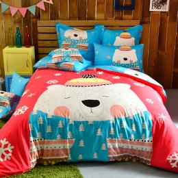 義大利Fancy Belle 加大貢緞防蹣抗菌吸濕排汗兩用被床包組-大白熊