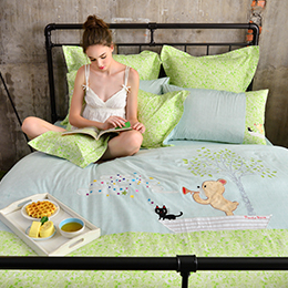 義大利Fancy Belle X Malis 雙人純棉貼布繡防蹣抗菌吸濕排汗兩用被床包組-前進的漣漪