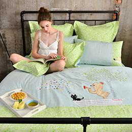 義大利Fancy Belle X Malis 加大純棉貼布繡防蹣抗菌吸濕排汗兩用被床包組-前進的漣漪