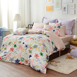 義大利Fancy Belle 單人純棉防蹣抗菌吸濕排汗兩用被床包組-葉語漫飛
