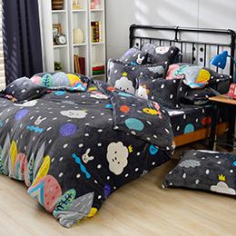 義大利Fancy Belle X FLUFFY HOUSE 單人雪芙絨被套床包組-白雲王子與他的好朋友們