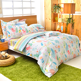 義大利Fancy Belle 加大純棉防蹣抗菌吸濕排汗兩用被床包組-仲夏樂園