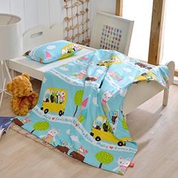義大利Fancy Belle X Malis《一起郊遊趣》兒童純棉防蹣抗菌兩用被枕頭2件組(3.5x4.5尺)