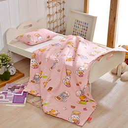 義大利Fancy Belle X DreamfulCat《一起做麵包》兒童純棉防蹣抗菌兩用被枕頭2件組(3.5x4.5尺)