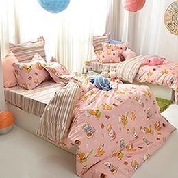 義大利Fancy Belle X DreamfulCat《一起做麵包》加大防蹣抗菌吸濕排汗兩用被床包組