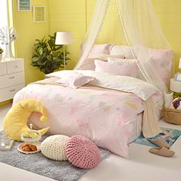 義大利Fancy Belle《俏皮貓咪兒》雙人防蹣抗菌吸濕排汗兩用被床包組
