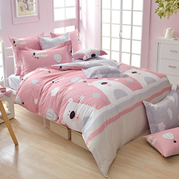 義大利Fancy Belle《萌熊旅行》雙人純棉防蹣抗菌吸濕排汗兩用被床包組