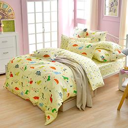 義大利Fancy Belle《恐龍遊記》雙人純棉防蹣抗菌吸濕排汗兩用被床包組