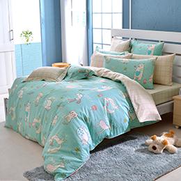 義大利Fancy Belle《甜蜜夥伴》加大純棉防蹣抗菌吸濕排汗兩用被床包組
