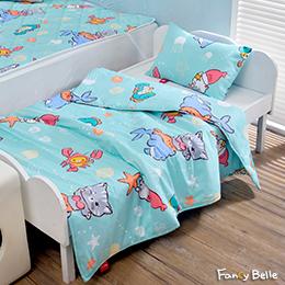 義大利Fancy Belle X DreamfulCat《海底樂悠游》兒童純棉防蹣抗菌兩用被枕頭2件組(3.5x4.5尺)