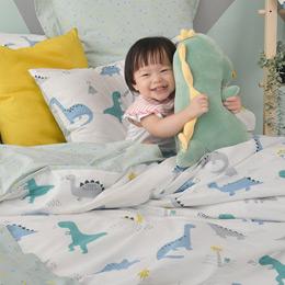 義大利Fancy Belle《恐龍百科》加大純棉防蹣抗菌吸濕排汗兩用被床包組