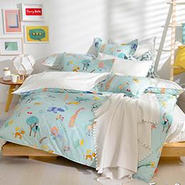 義大利Fancy Belle《叢林歷險》雙人純棉防蹣抗菌吸濕排汗兩用被床包組