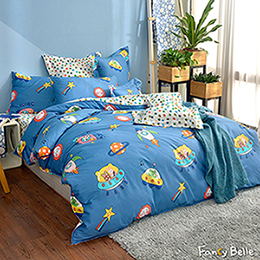 義大利Fancy Belle《太空冒險》單人純棉防蹣抗菌吸濕排汗兩用被床包組