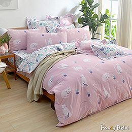 義大利Fancy Belle《貓貓綺夢》單人純棉防蹣抗菌吸濕排汗兩用被床包組