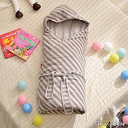 義大利Fancy Belle《斯卡線曲-咖》色坊針織兒童包巾兩用被(90*90CM)