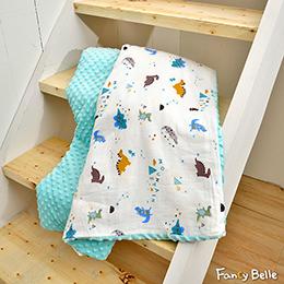 義大利Fancy Belle《遊戲恐龍》雙層紗防蹣抗菌吸濕排汗 兒童兩用 荳荳毯(105*135CM)