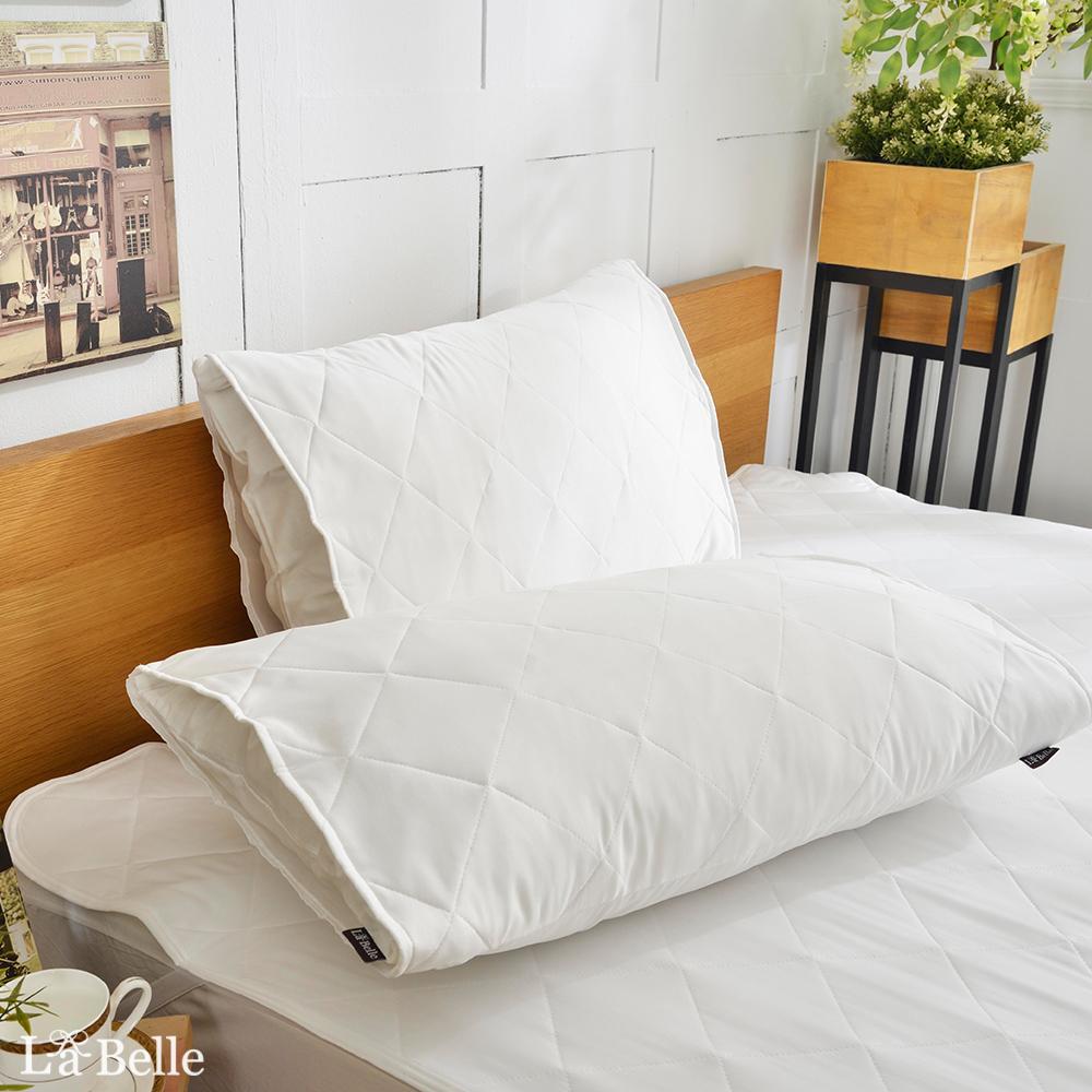 義大利La Belle 信封式防潑水保潔枕套-2入-純白素雅